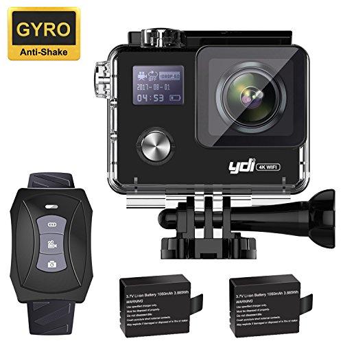 YDI G80 Action Cam 4K Impermeabile WiFi Sport Camera Videocamera 20MP Ultra HD Schermo Doppio con Telecomando e 2 * 1050mAh Batterie