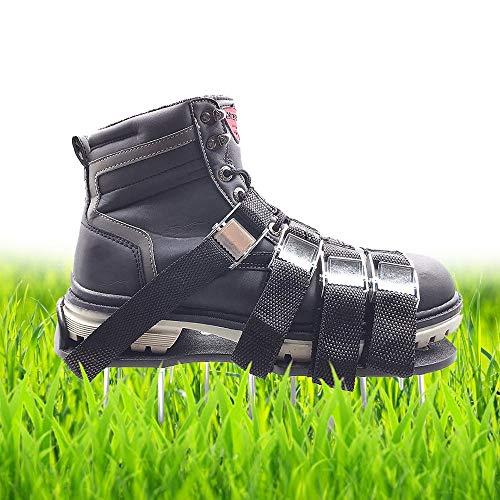 MEIWO Zapatos de aerador del césped, Sandalias del aerador de Las espigas de con 4 Correas Ajustables y Hebillas Fuertes de la aleación del cinc, tamaño Universal Que Cabe Todos los Zapatos