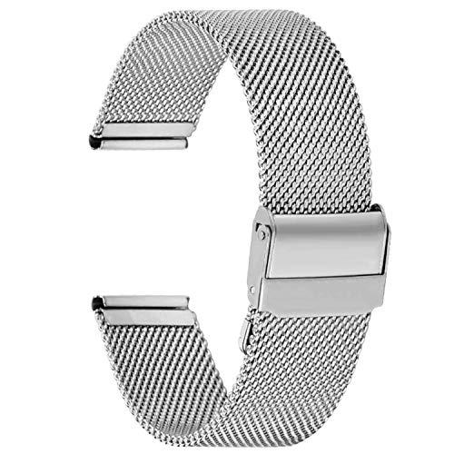 Fullmosa Cinturino per Orologio 22mm, Cinturini in Acciaio Inossidabile di Ricambio Compatibile con Orologi Samsung/Huawei, per Donna e Uomo, Argento 22mm