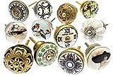 Mango Tree TM - Pomos de cerámica para armarios, 12unidades (MG-264), vintage, mezclados
