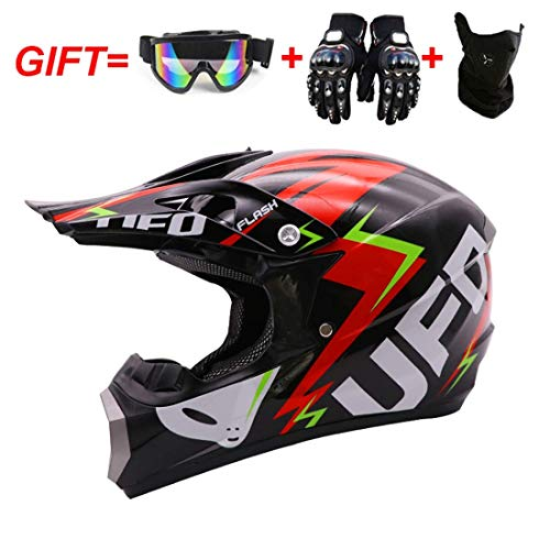 Casco da motocross, casco da fuoristrada per adulti con guanti Maschera maschera, casco da moto...