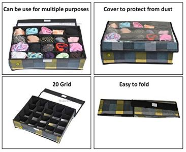 Yellow WeavesTM Undergarments Organizer/Foldable Storage Box with Lid for Drawers, Color - Multi 4