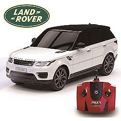 CMJ RC Cars Range Rover Sport - Mando a Distancia para niños con Luces de Trabajo, Radio eléctrico controlado en Carretera, Modelo 1:24, 27 MHz Blanco, Juguete para niñas y niños, 15 cm Aprox.
