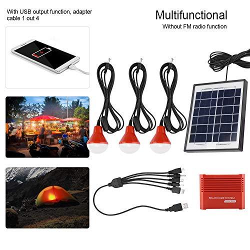 Jectse Kit De Paneles Solares, Sistema De Energía Solar con Cable De 4W / 6V5M, Control De Carga De 20A, Luz Led De 3Pz, Batería Recargable De 3.7V / 5200ma, con Función De Salida USB