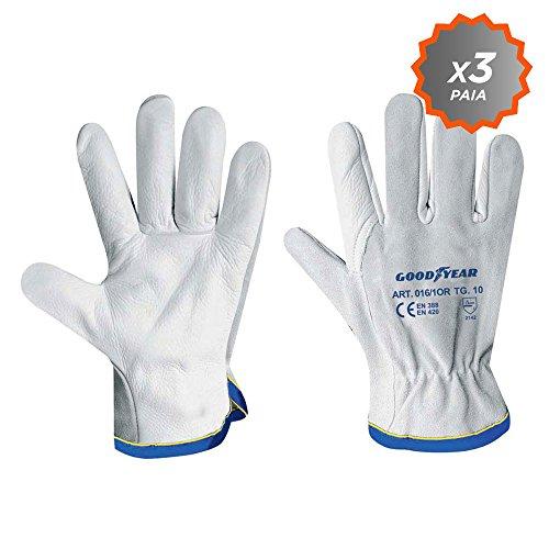 Confezione da 3 guanti da giardinaggio Goodyear pelle bianco orlato taglia 9