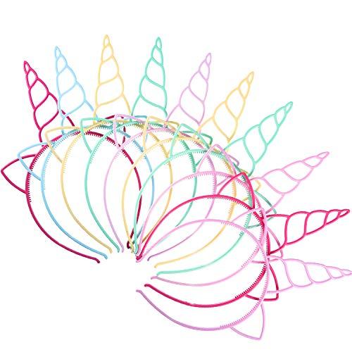 18 Pezzi Plastica Fascia Unicorno Corno di Unicorno Fantasia Vestito Cosplay Forniture per La Decorazione per Festa (Colori Chiari)