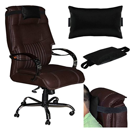 Acm Leather Cushion Pillow Head & Neck Rest Compatible with High Back Office Chair Black