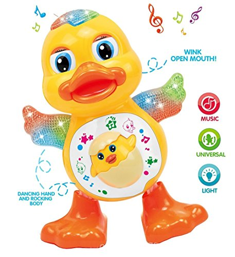 Zuffon Dancing Duck with Music, Flashing Lights, Battery Operated, Yellow Color