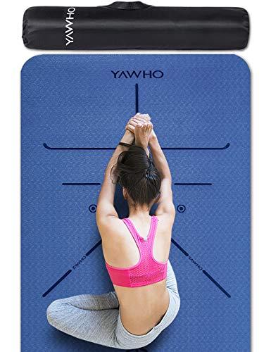YAWHO Yogamatte hochwertige TPE ist rutschfest ECO Freundlichen Material Das SGS Zertifiziert Maße: 183 cm X 66 cm Höhe 0.6 cm, Design Hilfslinien, licht, umweltfreundlich, langlebig (Blue)