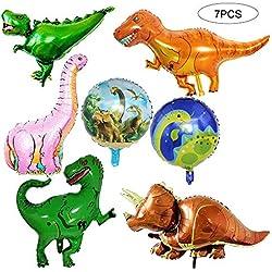 Deanyi 7pcs Gigante Foil Dinosaurio Jurásico Globo Fiesta de cumpleaños Mundial Suministros T-Rex Balloon Bouquet Decoración
