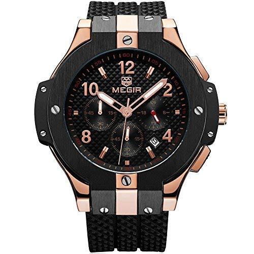 MEGIR Männer Armee Sport Quarz Uhren Silikonband Wasserdichte Armbanduhr für Mann Rose Gold
