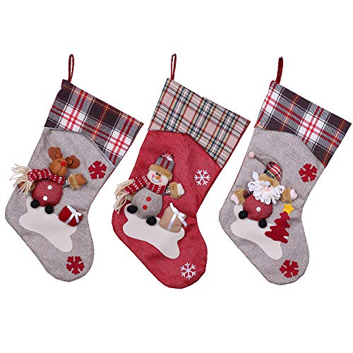 YAMUDA 3 Pcs Set Big size Classic Christmas Stockings Christmas Stocking XMAS Gift