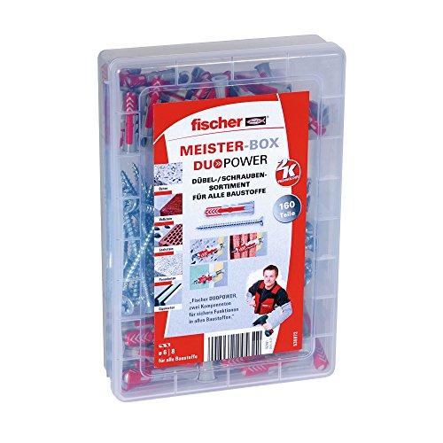 fischer MEISTER-BOX - Dübel-Sortiment mit DUOPOWER und Schrauben - Für zahlreiche Baustoffe und vielfältige Anwendungen - DUOPOWER 6 x 30, 8 x 40 - 160 Teile - Art.-Nr. 535972