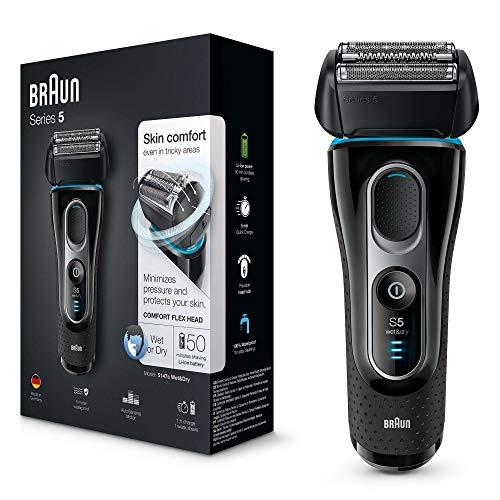 Braun Series5 5147s Rasoir Électrique Homme, Wet&Dry, Tondeuse De Précision Rétractable, Rasoir Barbe Rechargeable Sans Fil Noir/Bleu/Chrome