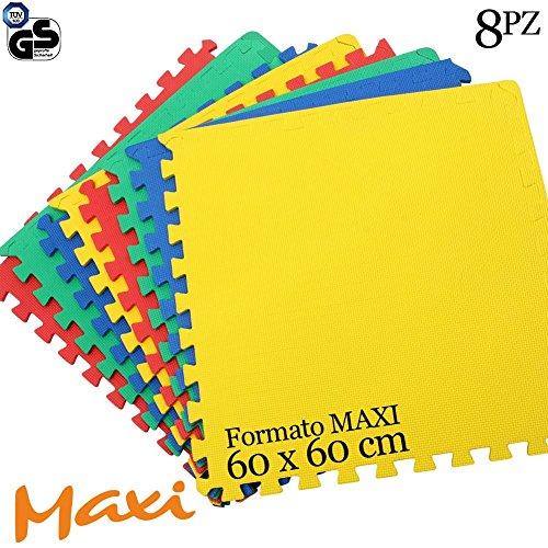Bakaji Tappeto Puzzle 8 pezzi 60 x 60 cm Multicolore in morbida gomma EVA resistente, isolante,...
