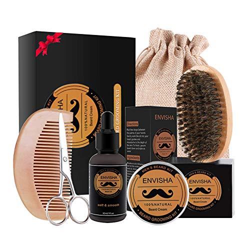 Cura Barba kit set OKEEY Original Barba kit per Uomo Cura Barba Naturale Crescita, con Olio Barba, Balsamo Barba, Spazzola Barba, Pettine Barba, Forbici barba, Migliore Regalo Perfetto