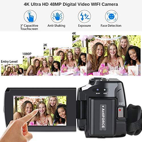 Caméscope 4K Vlogging Caméra Vidéo Ultra HD Wi-Fi Appareil Photo Numérique 48MP 3'' écran Tactile Vision Nocturne 16X Enregistreur de Zoom N... 26