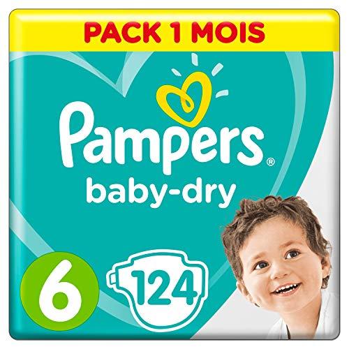 Pampers Baby-Dry, Pannolini, Taglia 6( 13- 18kg), Confezione da 124 pezzi
