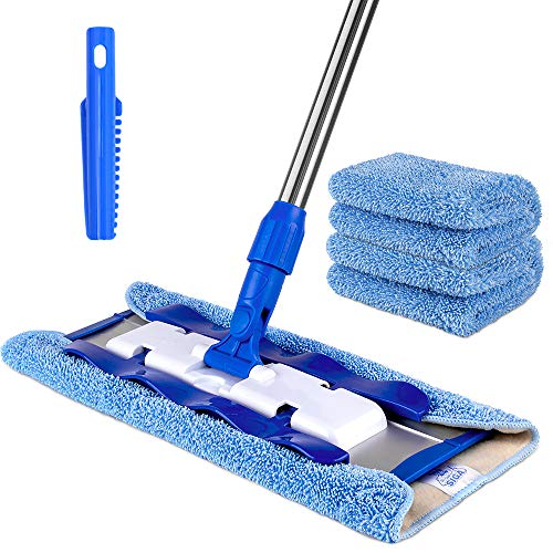 MR. SIGA Professional Microfiber Mop (Included 3 Microfiber Cloth Refills and 1 Dirt Removal...