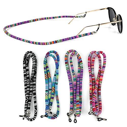 4 pezzi Cinturino per occhiali colorato per occhiali da sole e occhiali da lettura cavo per occhiali monocolo per occhiali cinghia per occhiali catena per occhiali supporto per catena cordino