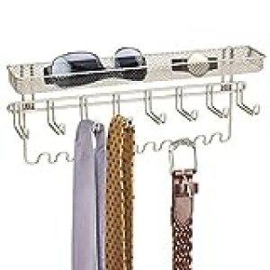 mDesign - Organizador de collares para pared - Ganchos de pared para alhajas - Este soporte de pared para bisutería es perfecto para colgar accesorios - Color: Blanco