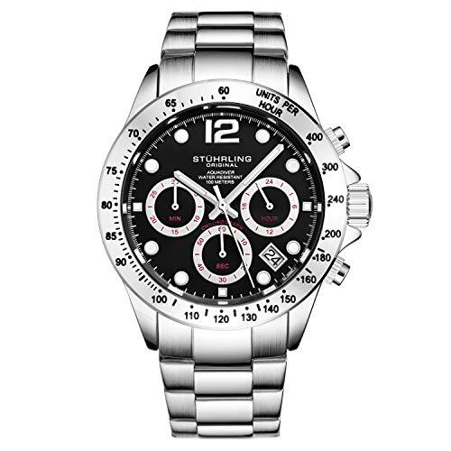 Stührling Original orologio cronografo da uomo, in acciaio INOX, con vite, corona e resistente all' acqua 100 m. quadrante analogico al quarzo Aquadiver Collection (Silver/Black)