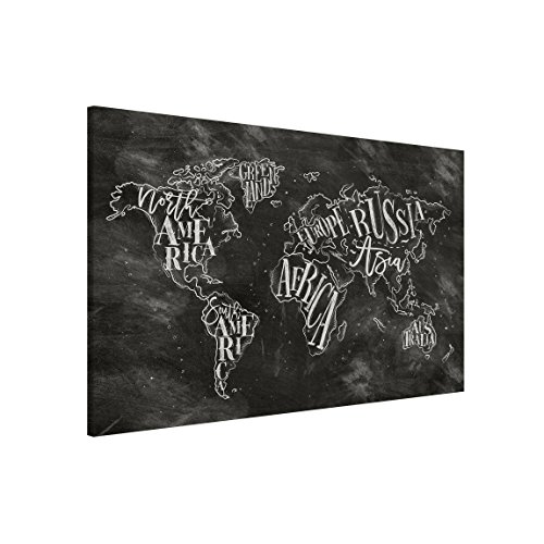 Bilderwelten Lavagna magnetica - Chalk World Map - Formato orizzontale 3:2, pittura bacheca...