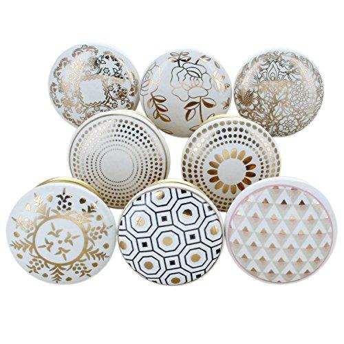 G Decor, set di 8 pomelli rotondi in ceramica, di colore dorato, con finitura screpolata, stile...