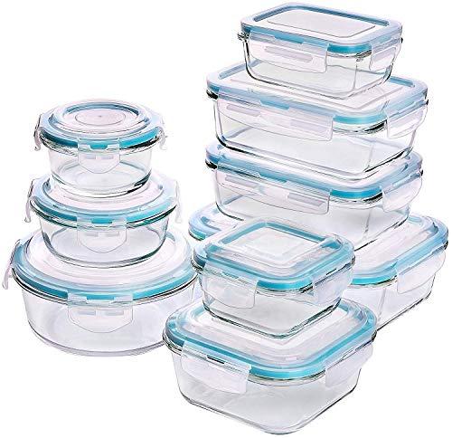 Set di contenitori per alimenti in vetro - 18 pezzi (9 contenitori + 9 coperchi) Coperchi...