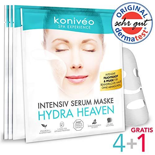 Tuchmaske Gesichtsmaske - Premium Hyaluron Gesicht Hydrogel Maske. Tuchmasken Vliesmaske Sheet Mask für Intensive Feuchtigkeit & Pflege. Ohne Parabene. Derma Test Note SEHR GUT / 4 + 1 er Monats Set