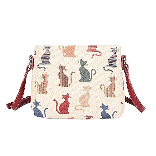 Bolso tapiz de hombro de moda Signare para mujer bolso de mano en bandolera bolso messenger animal (Gato descarado)