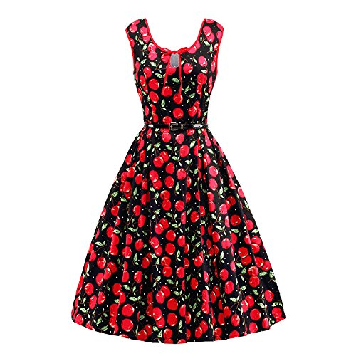 LUOUSE Vestido Mujer de Estilo 1950 Vintage con blosillo ocultos Rockabilly Retro de flores Cóctel fiesta,cereza,s