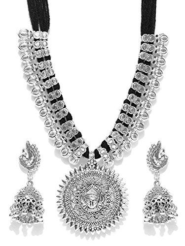 YouBella Stylish Latest Afghani Oxidised Jewellery Silver Plated Jewellery Set for Women (Black)(YBNK_5488)