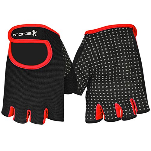AAJewels Guanti Uomo Donna Sollevamento pesi manubrio guanti di formazione Rosso - XL