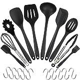 CRMICL 20 Stück Silikon-Küchengeräte, WisFox Kochgeschirr Stücke Hitzebeständiges Silikon-Geschirr Küchenhelfer Set, Antihaft-Küchenbackwerkzeuge 10 Sätze + 10 S-Haken -Schwarz