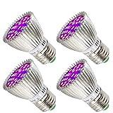 Lámpara de Planta 28W Luz de la Planta Espectro Completo Lámpara Crecimiento Iluminación Bombilla Plantas para las Plantas de Interior Flores y Verduras [4 Pack]