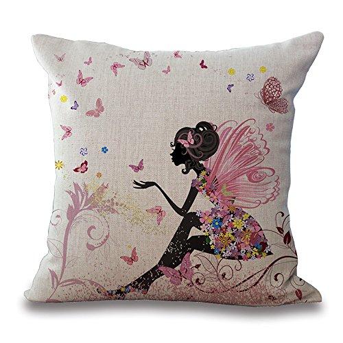 45cm Magic Color Rosa Hada Flores Mariposa Princesa Luna niña manta funda de almohada Funda para cojín de lino y algodón