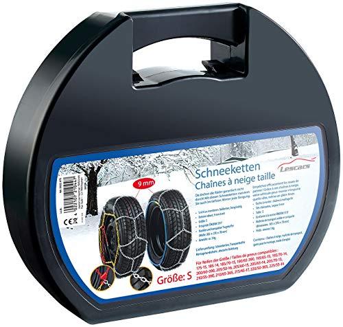 Lescars Anfahrhilfen: Schneeketten Größe S für Reifen 195/65 R15 u.v.m. (Schnellmontage Schneeketten)