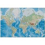 great-art Poster Weltkarte - 140 x 100 cm Fotoposter Wandposter Landkarte im Reliefdesign Wandbild Wanddeko - 15 - Worldmap Miller Projection