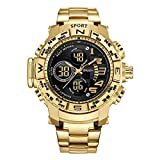 Wrath Luxury Singularity Analog & Digital Red Luxury Metal Chain Wristwatch for Men & Boys (Gold)