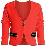 Bolero Strick Kinder Mädchen Rüschen Ärmel Schulterjacke Bauchfreie Jacke 20583, Farbe:Rot;Größe:128