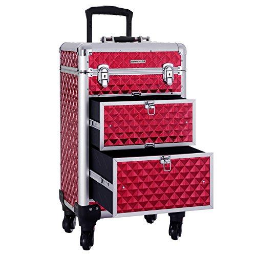 SONGMICS SONGMICS valise de maquillage ABS Rouge 34 x 27 57 cm JHZ08RD Beauty Case da viaggio, cm,...