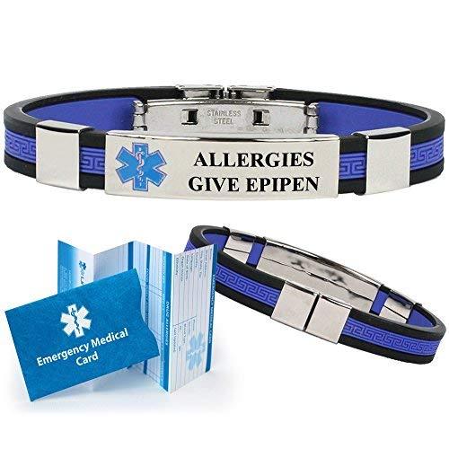 """""""Allergies Give EPIPEN"""" Designer Medical Alert ID Bracelet. Choose Color!"""
