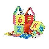 86piezas Alfombra de juegos, Set con letras y números, Eva espuma, Parque infantil acolchado protección del suelo W x D: 180x 180cm, multicolor