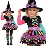 New Amscan Kids Halloween Miss Matched Witch Girls Fancy Dress Costume (4-6 Years)