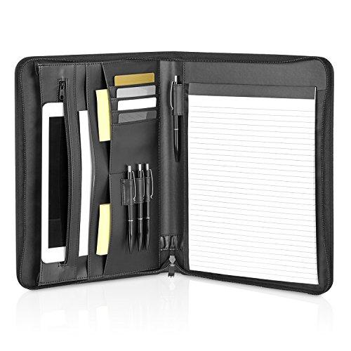 GOODMAN Wallstreet Schreibmappe Leder A4 mit Reißverschluss und Tablet, Laptop Fächern - schwarze elegante Dokumentenmappe - Business Organizer aus Kunstleder