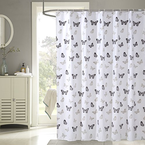 Dudeco cortina de ducha con 12piezas ganchos de plástico (tratado de poliéster para resistir deterioro por el moho) 72x 78cm, diseño de mariposas
