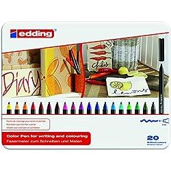 Edding 1300-20S - Estuche de metal con 20 rotuladores, multicolor