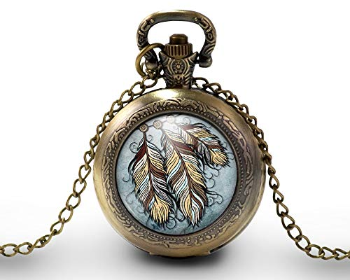 Collana orologio da taschino - orologio da tasca, cabochon'the dream catcher', Regalo di Natale -...