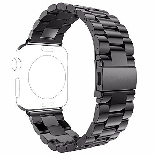 PUGO TOP Cinturino Replacement for Apple Watch Series 4 3 2 1, Cinturino in Acciaio Wrist Band per Apple Watch -Nero 42mm/44mm